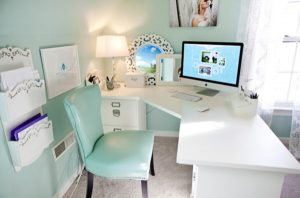 teal desk chair cool blue office room ideas