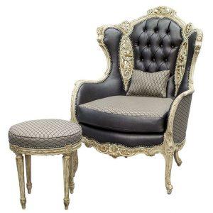 velvet wingback chair antiquerestoredcarvedwingchairmatchingstoolcr l