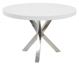 white leather dining chair white lacquered round dining table with crossed chrome feet