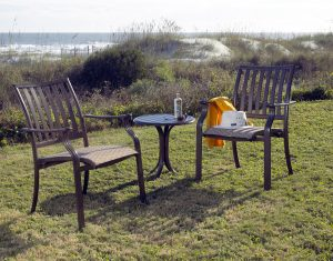 wicker chair outdoors aluminum patio furniture bistro set