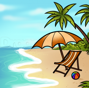 wooden beach chair how to draw a beach scene