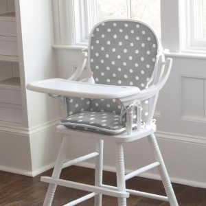 wooden high chair for babies gray and white dots and stripes high chair pad large