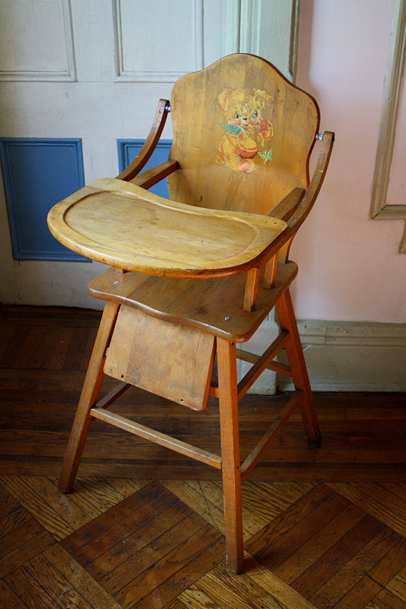 wooden high chair with tray