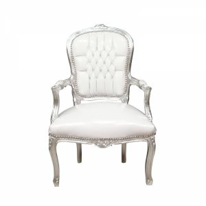wrought iron chair baroque armchair louis xv white and silver